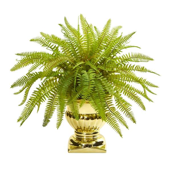 Nearly Natural Indoor 20 Fern Artificial Plant in Gold Urn 8509