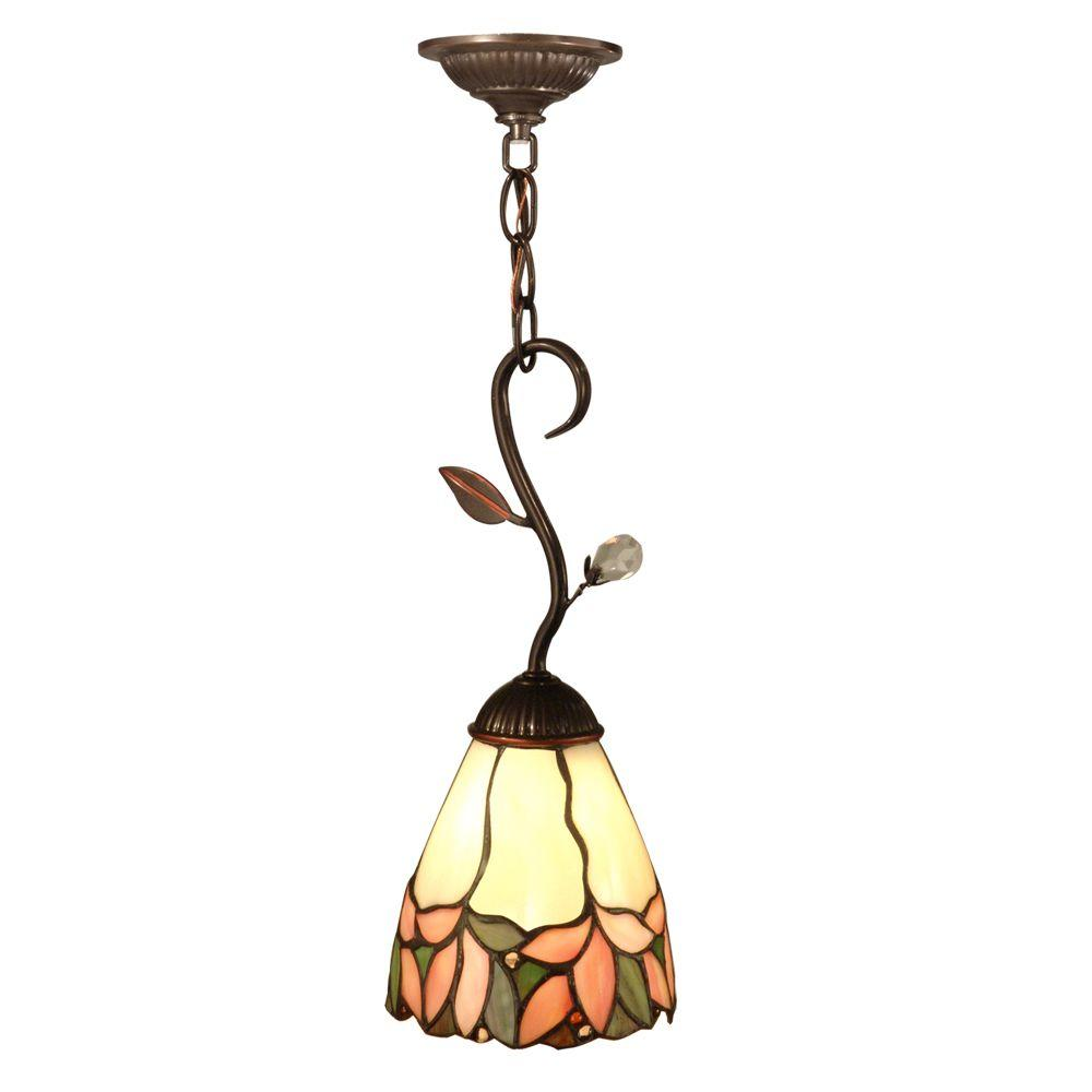 Crystal Leaf 1-Light Antique Bronze Hanging Mini Pendant Lamp