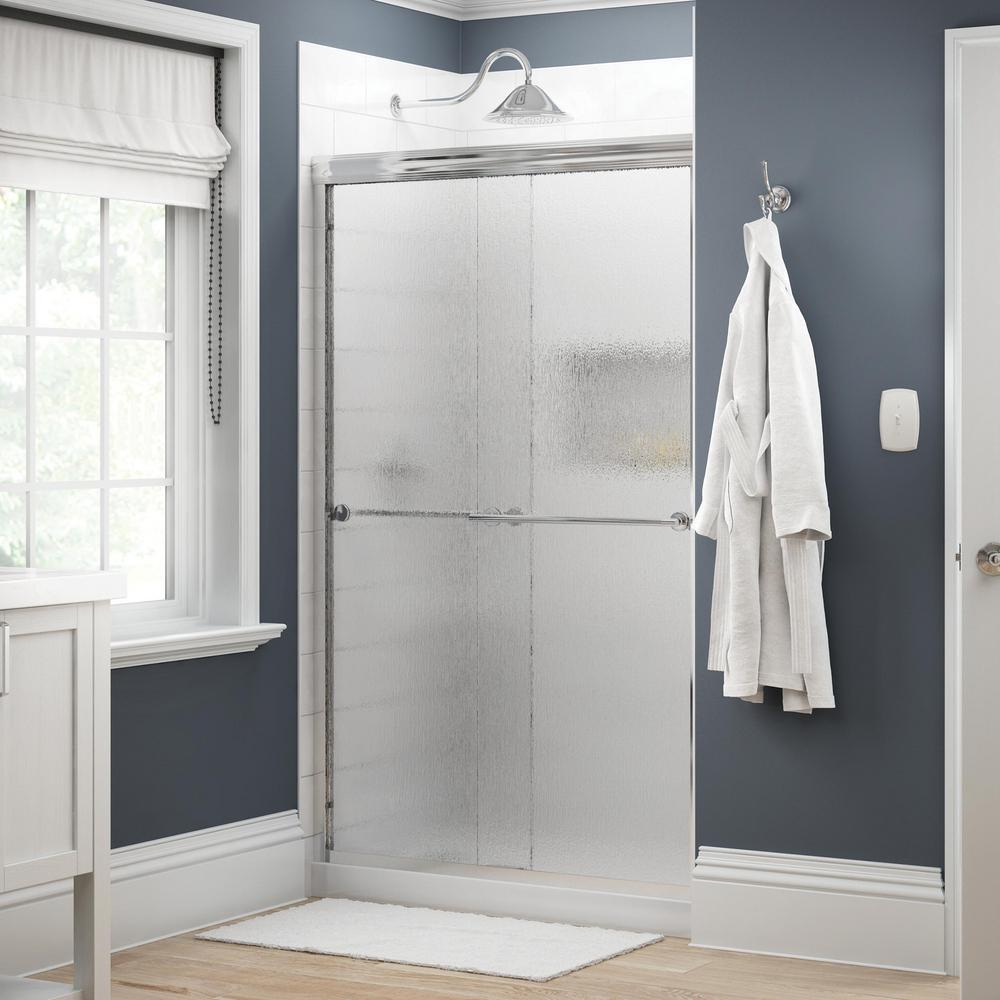 Delta Everly 48 in. x 70 in. Semi-Frameless Traditional Sliding Shower Door in Chrome with Rain Glass