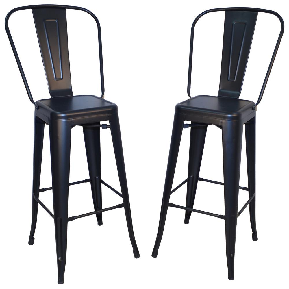 Carolina Cottage Adeline 30 In Black Metal Bar Stool Set