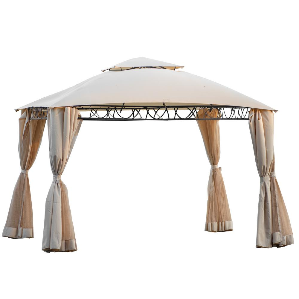Boyel Living 11 84 Ft X 10 6 Ft Beige Canopy Outdoor Patio Gazebo Bh Mx195922aaa The Home Depot