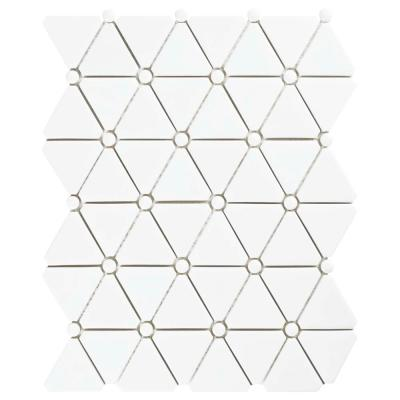 Expressions Treux White 10-1/8 in. x 12-7/8 in. x 7 mm Glass Mosaic Tile