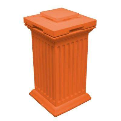 Savannah 16 in. x 16 in. x 38 in. Polyethylene Column Waste and Storage Bin in Terra Cotta