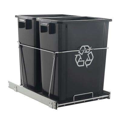32 Qt. Black Double Waste Can Slider