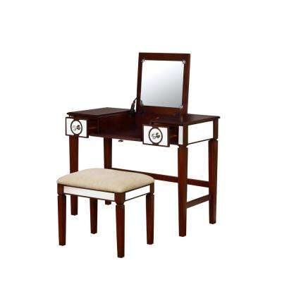 Marilyn 2-Piece Walnut Vanity Set