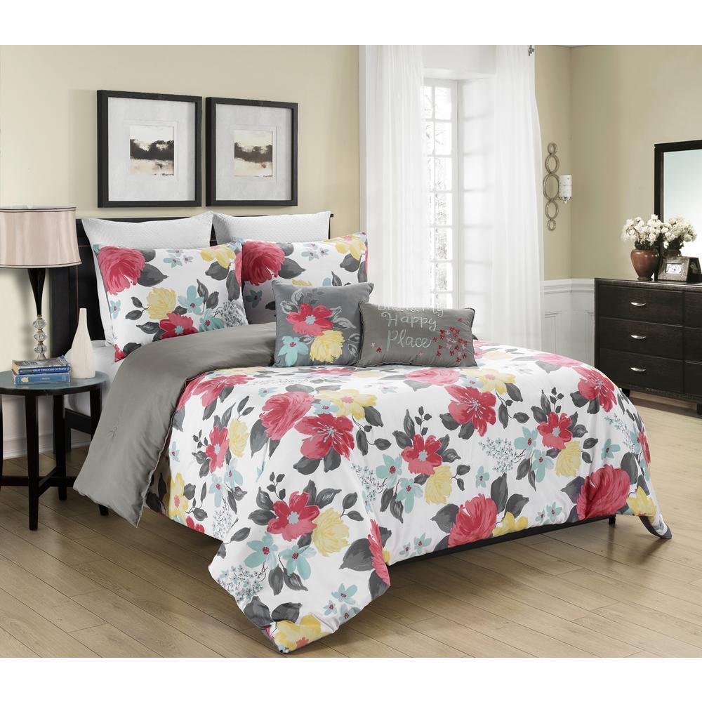 Morgan Home MHF Home Gretchen Multi Floral 5-Piece Full/Queen Comforter Set