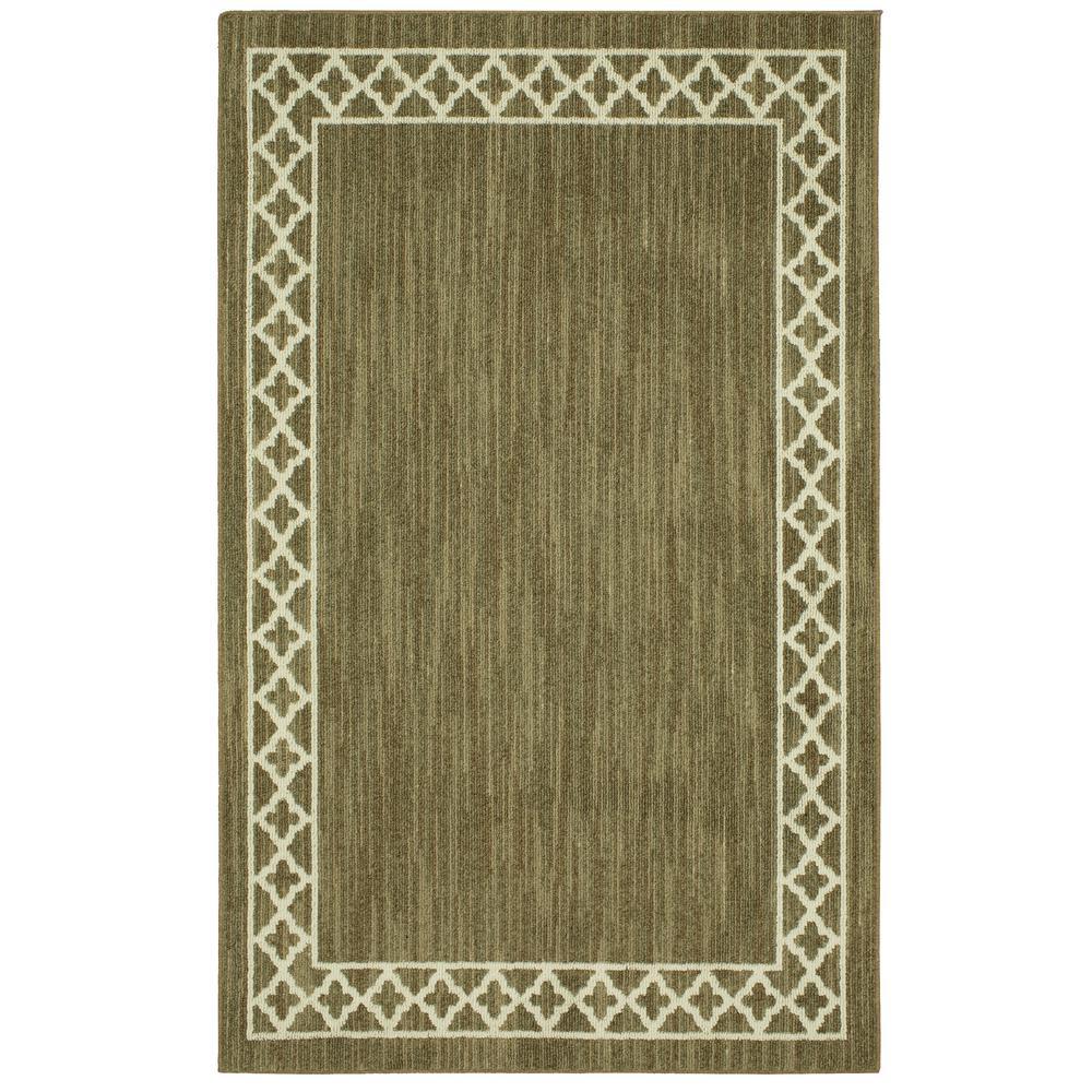 Modern Basics Moroccan Border Dark Khaki/Cream 1 ft. 8 in. x 3 ft. Scatter Rug