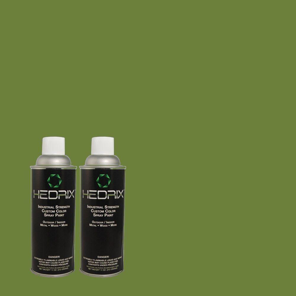 Hedrix 11 oz. Match of S-H-430 Mossy Green Flat Custom Spray Paint (2-Pack)
