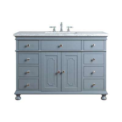 48 in. Abigail Embellished Single Sink Vanity in Grey with Marble Vanity Top in Carrara with White Basin