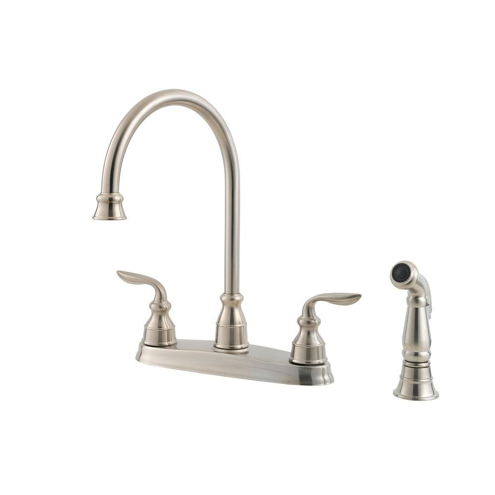 Pfister Avalon High-Arc 2-Handle Standard Kitchen Faucet with Side Sprayer in Stainless Steel