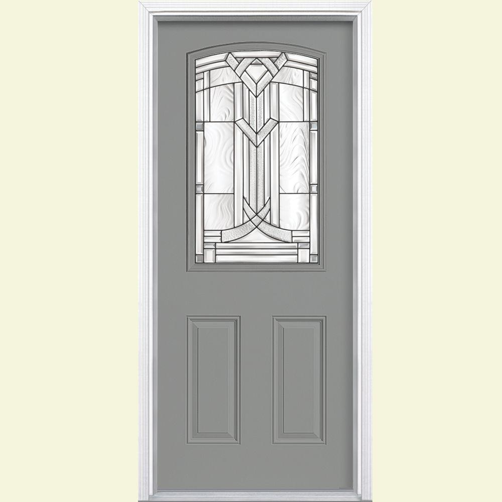 Masonite 36 in. x 80 in. Chatham Camber 1/2 Lite Left Hand Painted Smooth Fiberglass Prehung Front Door w/ Brickmold, Vinyl Frame