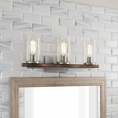 Boswell Quarter 3-Light Galvanized Vanity Light with Painted Chestnut Wood Accents