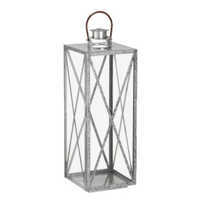 30 in. H Galvanized Metal And Glass Lantern