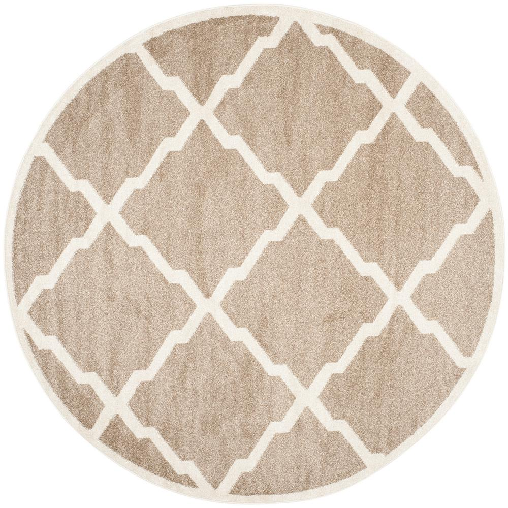 safavieh amherst wheat beige 9 ft x 9 ft indoor outdoor round area rug amt421s 9r the home depot. Black Bedroom Furniture Sets. Home Design Ideas