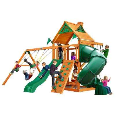 Mountaineer Wooden Swing Set with 2 Slides and Picnic Table