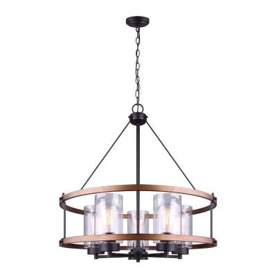 Canmore 5-Light Oil Rubbed Bronze and Brushed Wood Chandelier with Clear Glass Shades