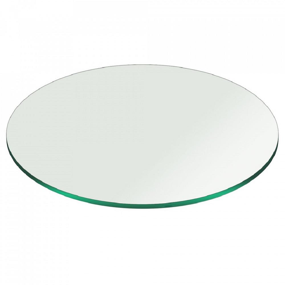 Fab Glass And Mirror 18 In Clear Round Glass Table Top 38 In