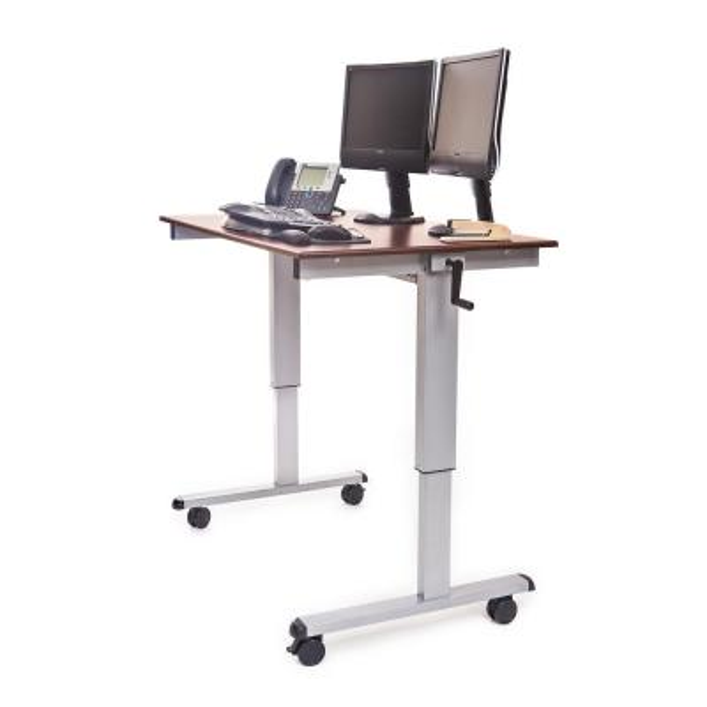 Silver and Dark Walnut Desk with Wheels