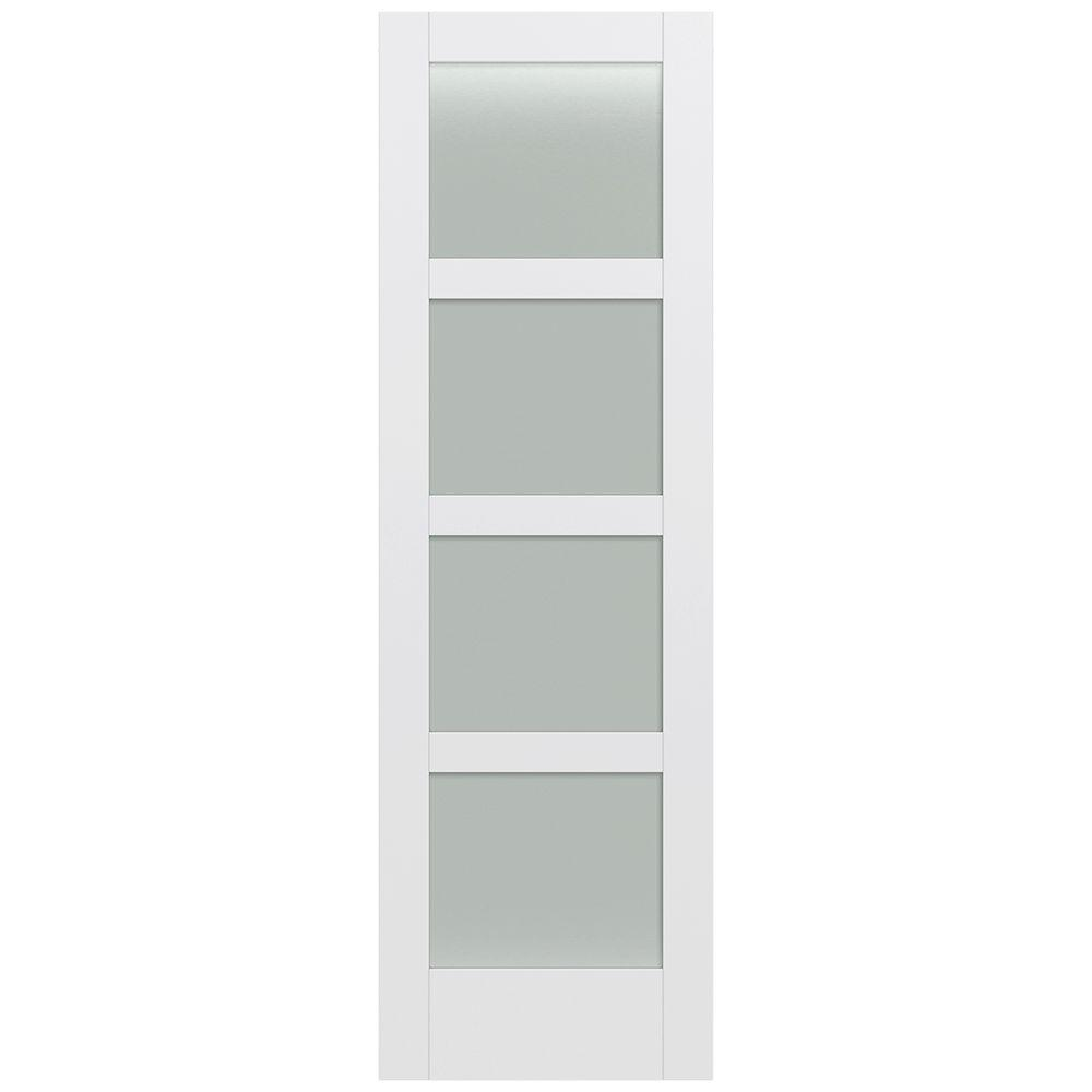 Jeld-Wen 32 in. x 96 in. Moda Primed PMT1044 Solid Core Wood Interior Door Slab w/Translucent Glass