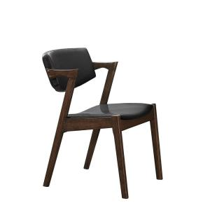 Benjara Dark Brown And Black Wooden And Leather Side Chair