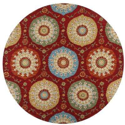Paradise Red 8 ft. x 8 ft. Round Area Rug