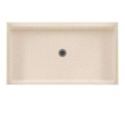 32 in. x 60 in. Solid Surface Single Threshold Center Drain Shower Pan in Bermuda Sand