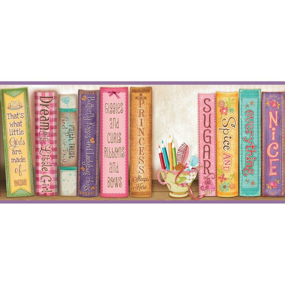 Chesapeake Vivi Sugar And Spice Bookshelf Wallpaper Border