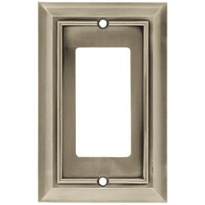 Architectural Decorative Single Rocker Switch Plate, Satin Nickel