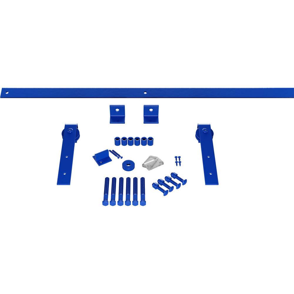 Goldberg Brothers Inc 1 1 2 In X 64 In X 11 1 2 In Steel Premium J Strap Barn Door Hardware Set Moulding Blue Ribbon Gb60014h54br The Home Depot