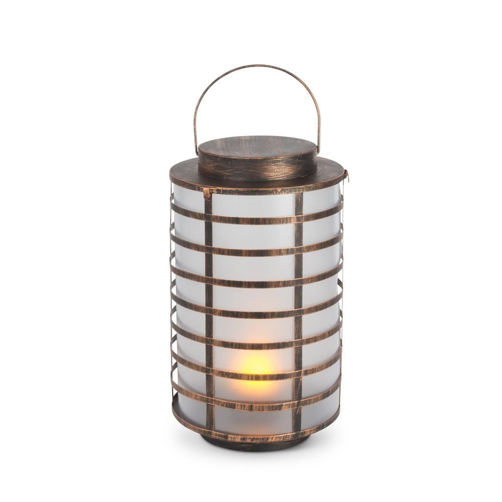 Gerson 15.5 in. Gold FireGlow Lantern
