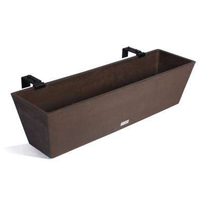 36 in. Espresso Plastic Hanging Window Box Planter