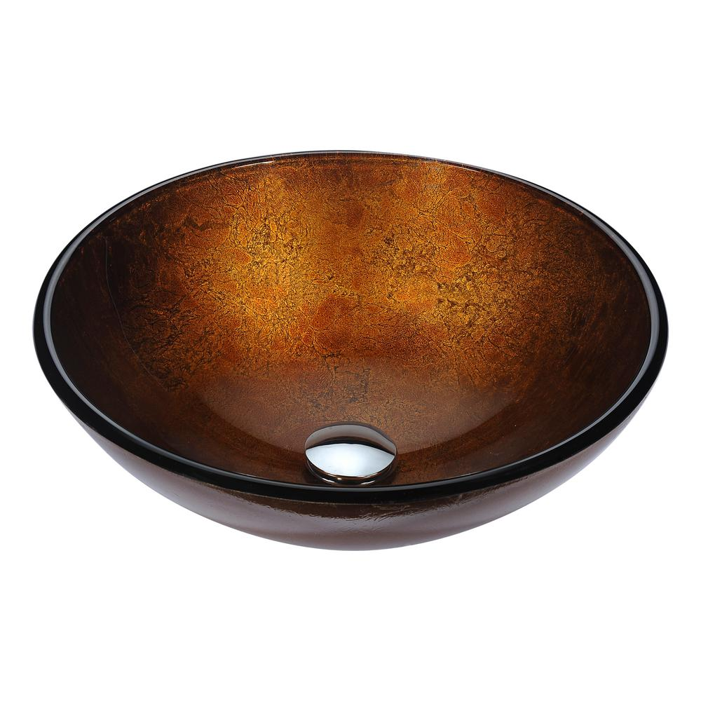 Charmant ANZZI Posh Series Deco Glass Vessel Sink In Amber Gold