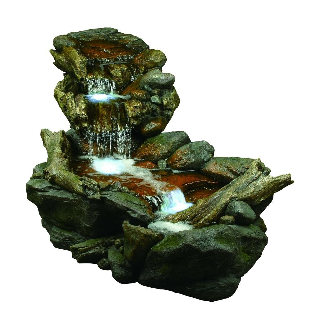 Outdoor 3 Tier Rainforest Rock Water Fountain With Led Lights