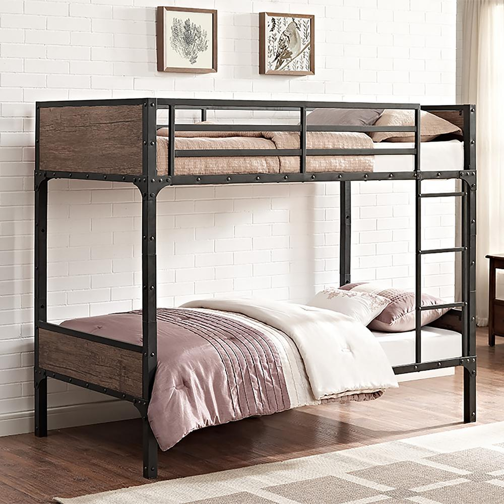 Superb Walker Edison Furniture Company Rustic Twin Over Twin Wood Bunk  Bed HDTOTRMWM   The Home Depot