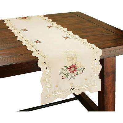 0.1 in. H x 15 in. W x 54 in. D Golden Glow Embroidered Cutwork Christmas Table Runner