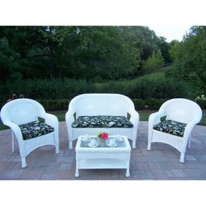 White 4-Piece Wicker Patio Conversation Set with Black Floral Cushions by