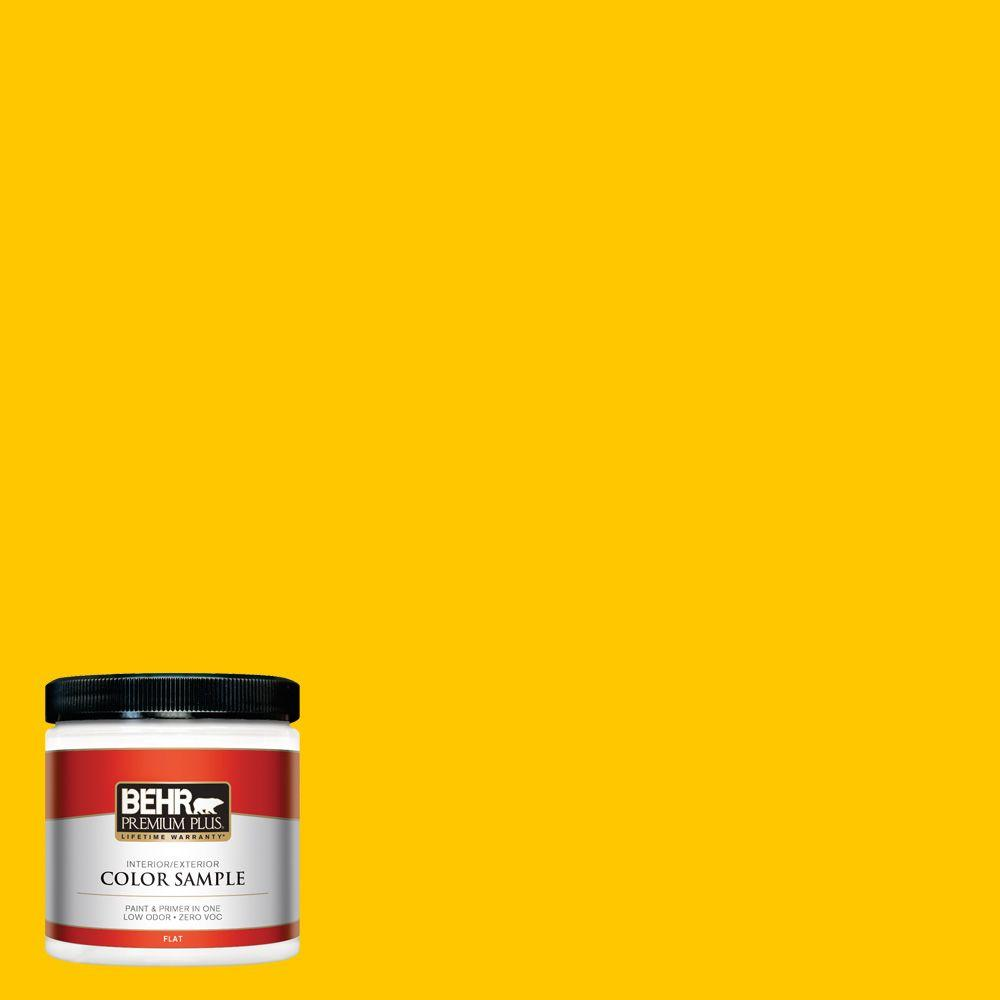 BEHR Premium Plus 8 oz. #370B-7 Yellow Flash Flat Interior/Exterior ...