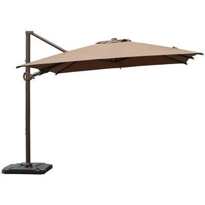 10 ft. x 10 ft. 360-Degree Rotating Aluminum Cantilever Patio Umbrella with Base Weight in Cocoa