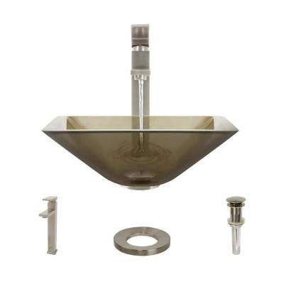 Glass Vessel Sink in Cashmere with R9-7003 Faucet and Pop-Up Drain in Brushed Nickel