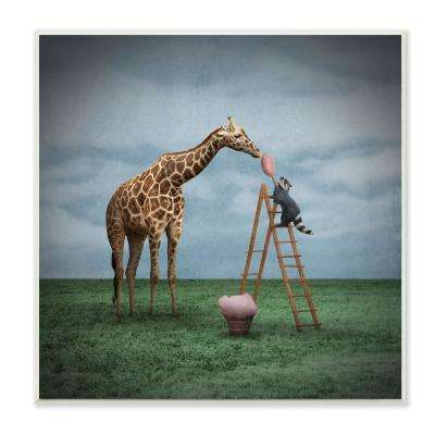 "12 in. x 12 in. ""Surreal Raccoon Feeding a Giraffe Cotton Candy from a Ladder Illustration"" by Greg Noblin Wood Wall Art"