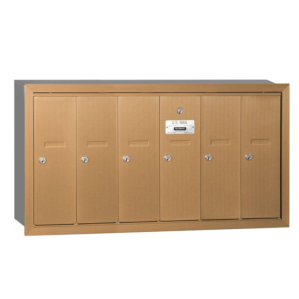 Brass Recessed-Mounted USPS Access Vertical Mailbox with 6 Doors