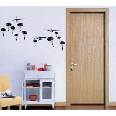 72 in. x 39 in. Black Paratrooper and Air Planes Removable Wall Decal