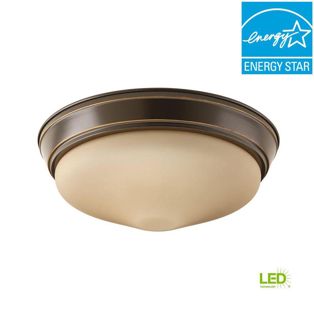 13.25 in. 1-Light Antique Bronze Integrated LED Flushmount