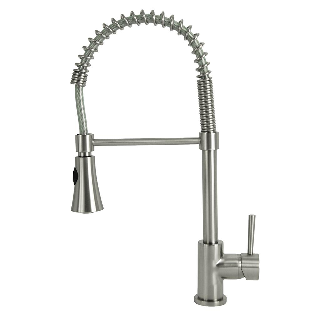 Residential Single Handle Pull Down Sprayer Kitchen Faucet With Spring Coil Arm In Brushed