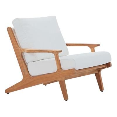 Saratoga Natural Teak Outdoor Lounge Chair with White Cushions