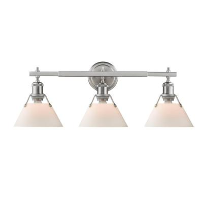 Orwell PW 3-Light Pewter Bath Light with Opal Glass Shades
