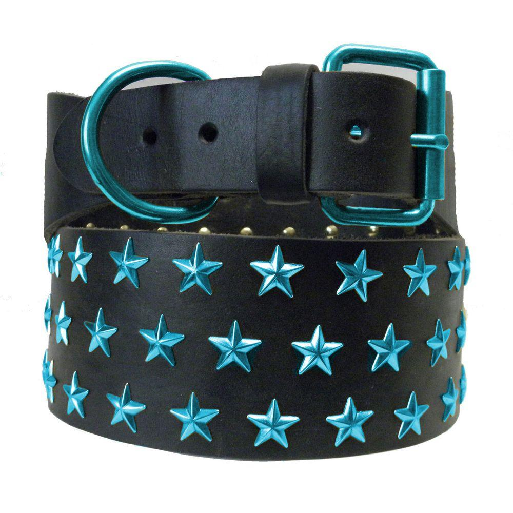 Platinum Pets 31 in. Black Genuine Leather Dog Collar in Teal Stars