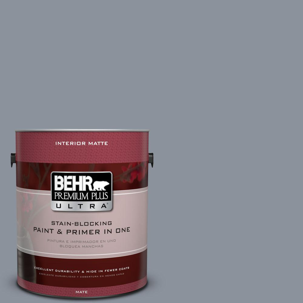 BEHR Premium Plus Ultra 1 gal. #PPF-28 Blue Dusk Flat/Matte Interior Paint