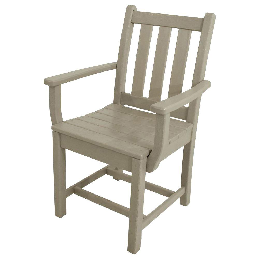 Traditional Garden Sand All-Weather Plastic Outdoor Dining Arm Chair