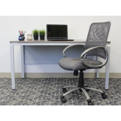 HomePro Mesh Desk Chair. Charcoal Grey Mesh. Pewter finish Arms & Base. Puematic Lift.